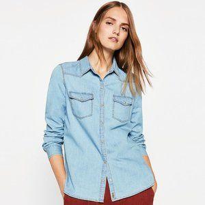 Zara Basic Blue Lightweight Denim Snap Front Shirt